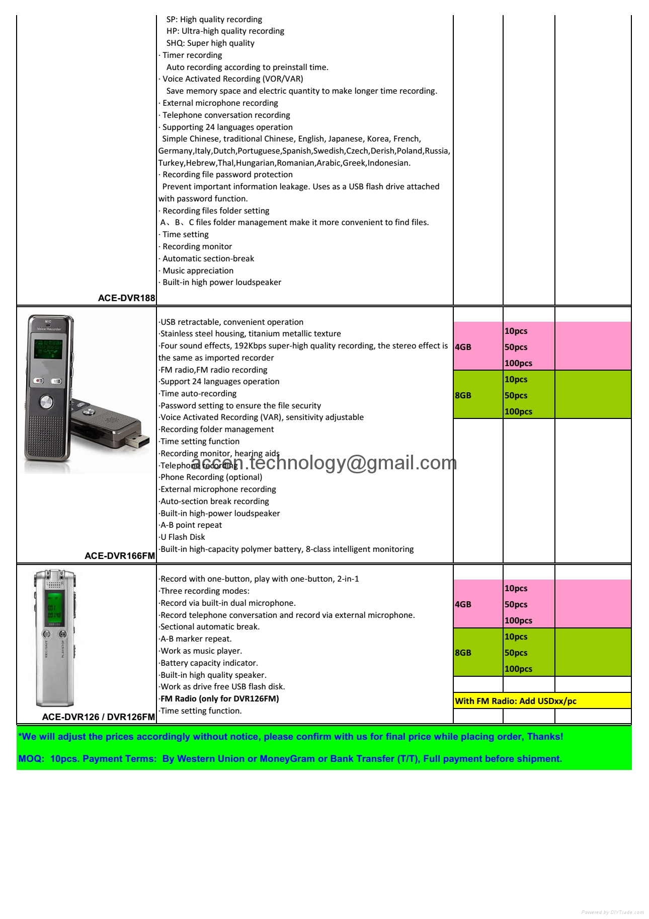 portable digital voice recorder usb tap video recorder catalog price list from manufactuer factory