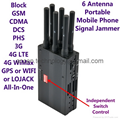 6 Antenna Portable Cell Phone Signal Jammer Block GSM 3G 4G LTE WIMAX GPS WIFI LOJACK