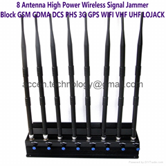 8 Antenna Power Adjustable Cell Phone 3G4G GPS WIFI VHF UHF LOJACK Signal Jammer