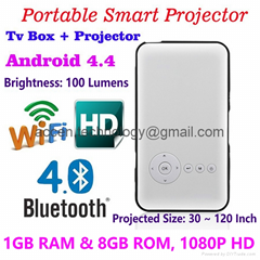 M6 Pocket DLP LED Smart Projector W/ Android 4.4 OS 1G RAM+8GB ROM TV Box