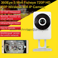 EC1 1MP 720P Mini Fisheye P2P Wireless WIFI IP Camera Mini CCTV Surveillance DVR LED Night Vision Motion Detection 185 Degree View Angle