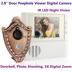 "2.8"" Digital Door Peephole Viewer Camera IR Night Vision Home Security Doorbell"