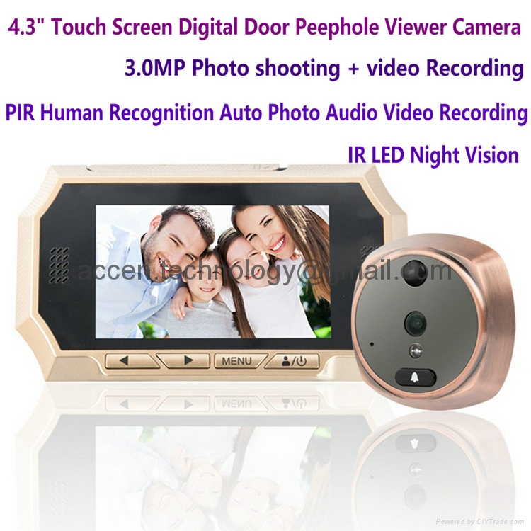 "4.3"" LCD Touch Screen Smart Door Peephole Viewer Camera 3.0M HD720P PIR Auto Photos/Audio Video Recorder IR LED Night Vision Doorbell Door Eye​ for home security surveillance"