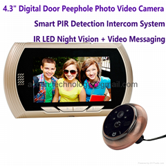 "4.3"" Digital Door Peephole Photo Video Camera Smart PIR Doorbell Intercom System"