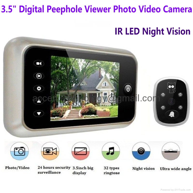 3.5 inch LCD Screen Digital Door Peephole Viewer Camera 120 Degree Wide Angle Video Doorbell Door  sc 1 st  Accen Technology Co. Limited & 3.5\