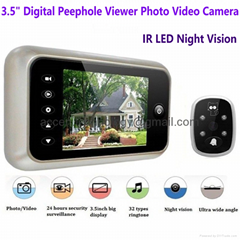 "3.5"" Digital Door Peephole Viewer Camera Night Vision DoorEye DVR Video Doorbell"