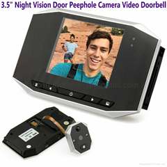 "3.5"" LCD Night Vision Door Peephole Camera Doorbell Video Recorder Home Security"