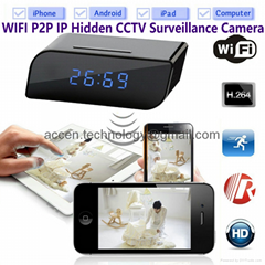T8S 720P Alarm Clock WIFI P2P Spy Hidden CCTV Camera Home Security Surveillance