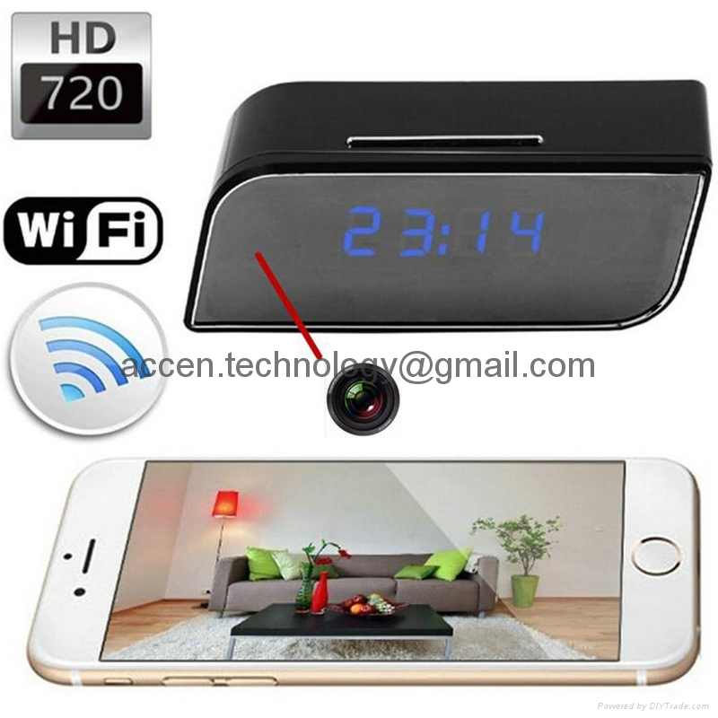 T8S Mini Desktop Alarm Clock 720P WIFI P2P IP Spy Hidden Camera Wireless Home Security CCTV Surveillance Camera with Night Vision & Android/iOS APP control
