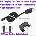 New 3-In-1 USB Data Cable+Hidden Spy GSM