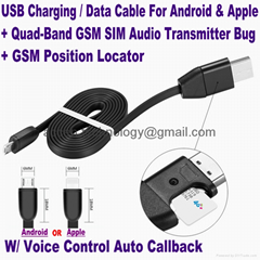 2017 New USB Cable Inbuilt GPS Locator & Quad-Band GSM SIM Audio Transmitter Bug