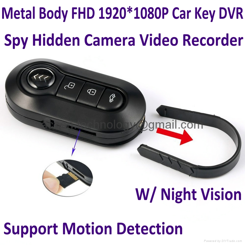 FHD 1080P Metal Body Car Key Spy Hidden Camera Mini Video Recorder W/ Night Vision & Motion Detection