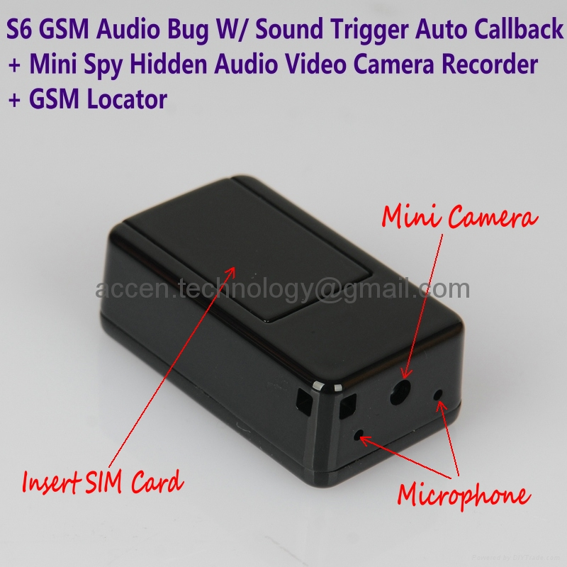 S6 Mini GSM Audio Ear Bug W/ Spy Hidden Audio Video Camera Recorder MMS Photo/Video Alarm GSM Locator
