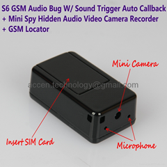 S6 Mini GSM Audio Ear Bug W/ Hidden Camera Recorder MMS Photo Alarm GSM Locator