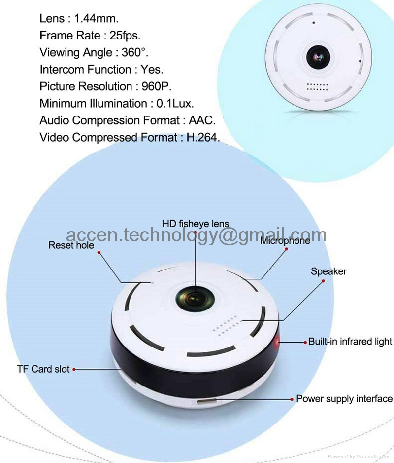 EC10 960P 1.3MP HD 360 degree Full View Angle Fisheye Wireless WIFI P2P CCTV IP Cameras IR Led Night Vision Home Office Indoor Security DVR Remote Surveillance on Smart Phone W/ Two Way Audio Talk