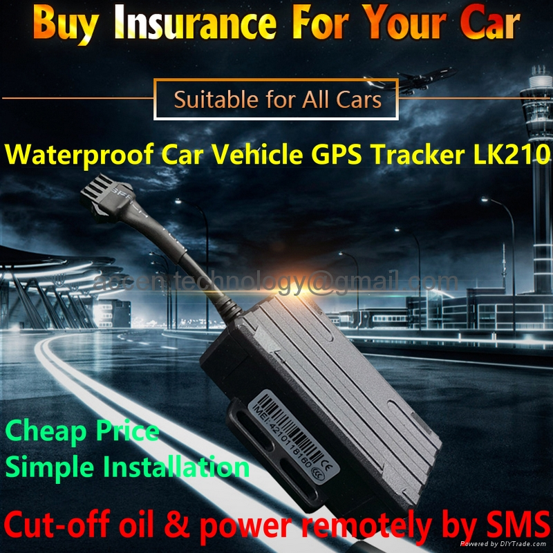 Waterproof Car Vehicle Motorcycle GPS Tracker Locator LK210 Real Time Tracking Device, cheap price + easy installation, support Remotely Cut-Off Oil & Power by SMS, Free PC Online Web Tracking / Andriod/iOS App Tracking on phone
