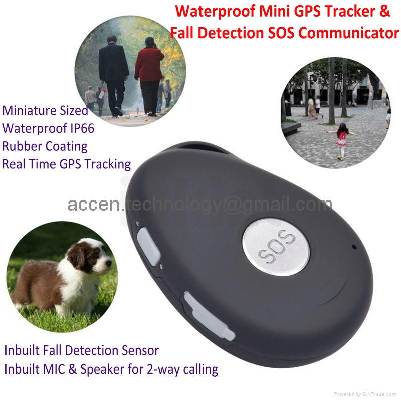Mini Waterproof 3G GSM Personal AGPS GPS Tracker Fall Detection SOS Communicator EV07 Inbuilt microphone & speaker for 2-way phone call