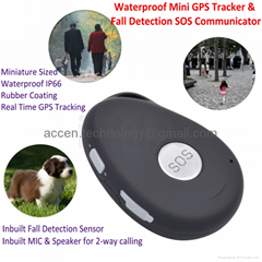 Mini Waterproof GSM Personal GPS Tracker Elderly Fall Detection SOS Communicator