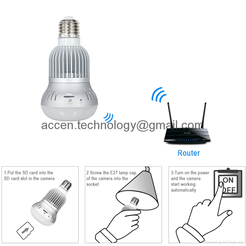 1.3MP 960P Hidden LED Bulb Lamp Fisheye Camera WIFI 360 degree full view Panorama IP P2P Mini TF CCTV Surveillance DVR with iPhone/Android APP remote operation