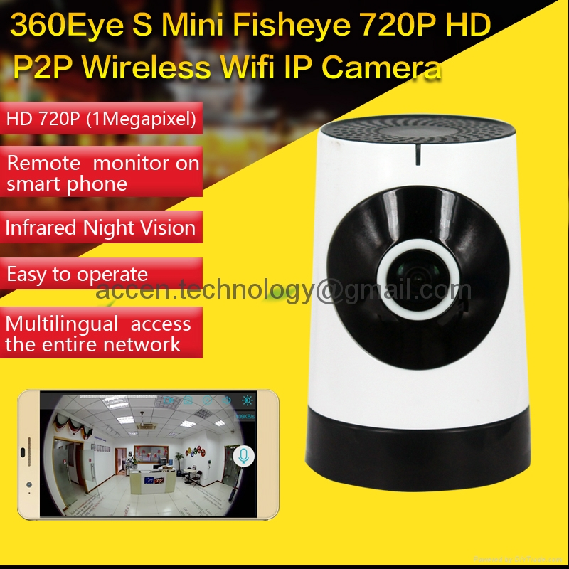 EC5 Fisheye 185 Degree View Angle WIFI P2P IP Camera Mini Indoor Hidden Spy Anti-Theft CCTV DVR Remote surveillance on iPhone/Android APP & Wireless WIFI Baby Monitor with Motion Detection HD 720P Live Video Baby Electronic Monitor Nanny Camera