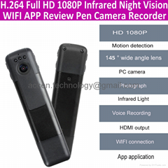 1080P HD WIFI Wireless Spy Pen Camera IR Night Vision hidden video Pen Camcorder