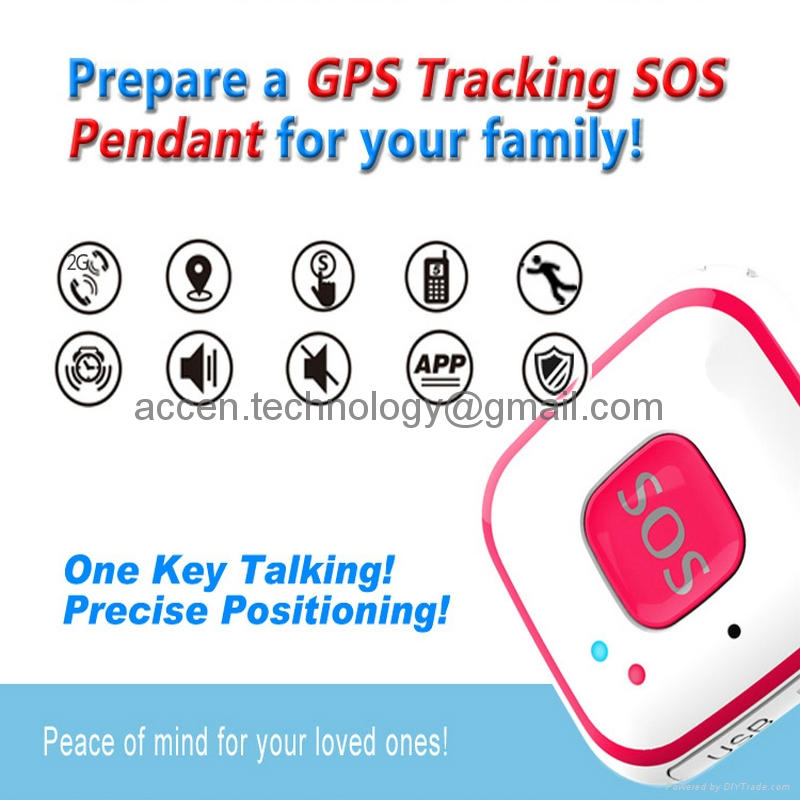 Mini Pendant SOS Personal Alarm Mini GPS Tracker Locator Fall Detection Push Sound Alarm by Android IOS APP on mobile phone two-way audio communication for elderly kids disabled Alzhemer's safety