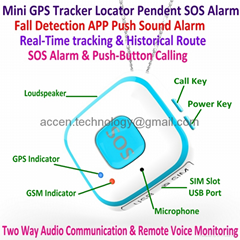 Mini Pendant SOS Alarm Personal GPS Tracker Fall Detection Android IOS APP Push