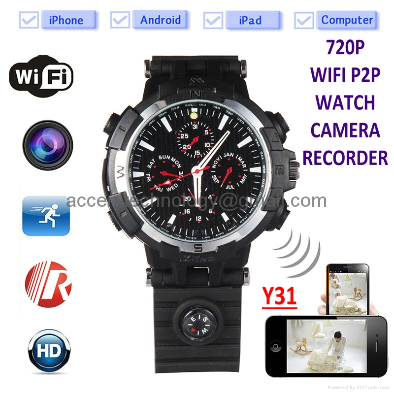 Y31 16GB 720P Wireless WIFI P2P IP Spy Watch Video Camera DVR Recorder IR Night Vision Motion Detection Security DVR Baby Nanny Remote Monitoring on Smartphone