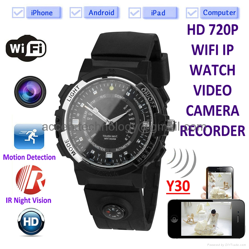 Y30 720P WIFI IP Watch Video Camera Night Vision Spy Hidden Monitoring Camera