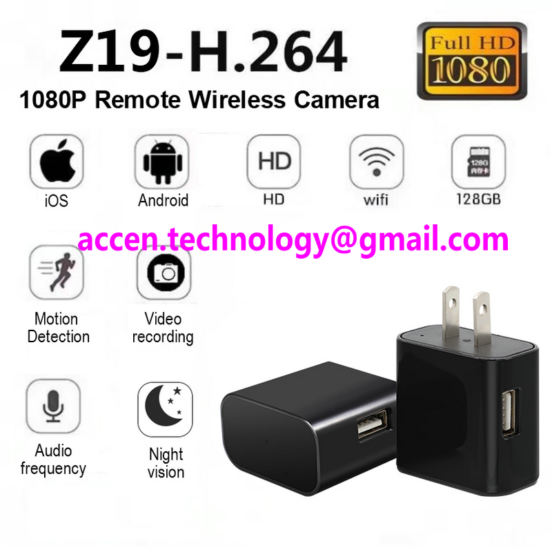 Z19 FHD 1080P WIFI IP spy hidden ac adapter camera wall plug charger video recorder wireless remote monitor