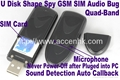 USB Disk Shape GSM Spy Bug Covert Audio Listening Voice Activation Auto Callback