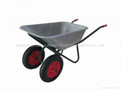 Galvanized Large Tray Twins Wheel Wheelbarrow-WB6430