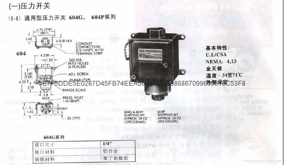 604G1 通用型CCS壓力開關 2