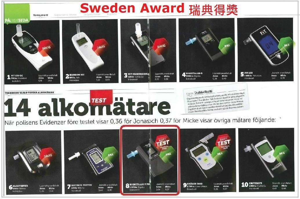 2013瑞典评选为  酒测仪