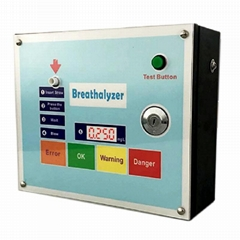 Public breathalyzer with straw operation