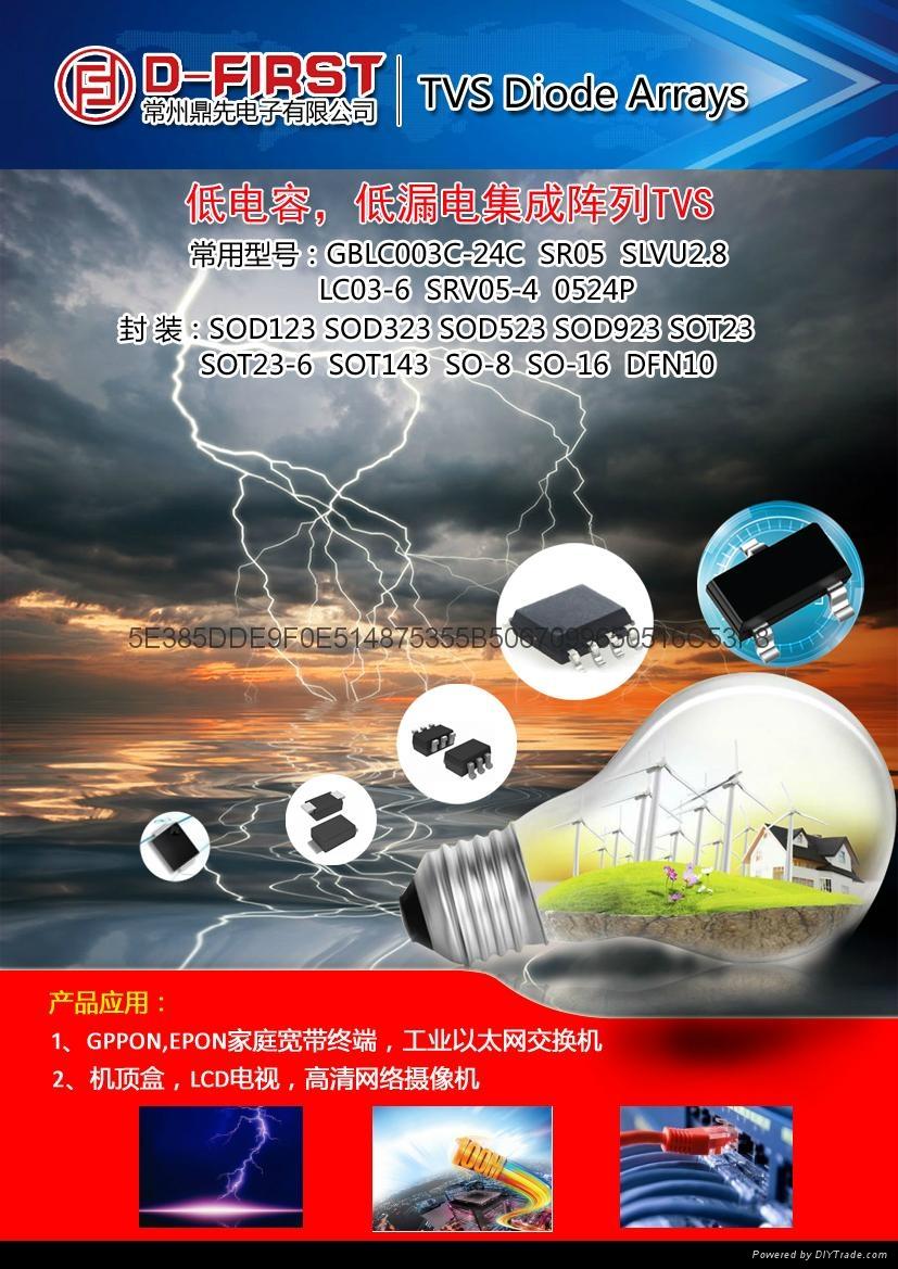 低电容瞬态抑制二极管阵列 GBLC03C 05C 08C 1