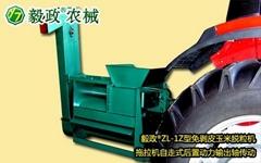 毅政牌ZL1Z型拖拉机自走式动力输出轴传动的免剥皮玉米脱粒机