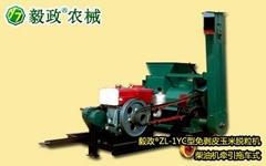 毅政牌ZL1YC型柴油机牵引拖车式免剥皮玉米脱粒机