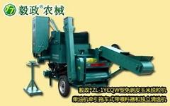 毅政ZL1YCQW柴油机牵引拖车式带独立清选机的免剥皮玉米脱粒机