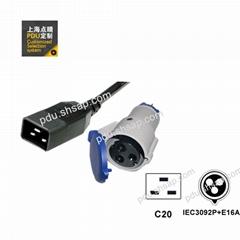 IEC320 C20 IEC309 16A 2P+E 服務器 路由器 PDU 電源線
