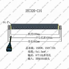 突破PDU插座八位10A萬用輸出1.5平方3米UPS直接入插頭IEC320-C14