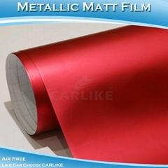 CARLIKE高品質紅色金屬電鍍啞光冰膜