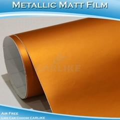 CARLIKE CL5507 Chrome Metallic Matt Orange Vinyl Sticker For Car