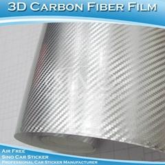 Chrome Silver 3D Carbon Fiber Car Wraps Vinyl