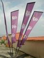 一座多杆沙滩旗,一座四杆广告旗