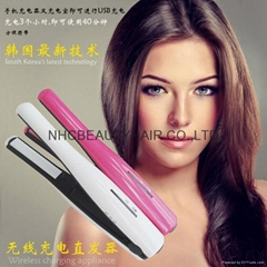 Rechargeable hair straighter portable to