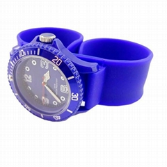 Fashion Silicone Slap Strap Watches Plastic Case Movement Quartz
