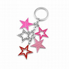 Star Shaped Colorful Metal Key Chain Promotional Gifts