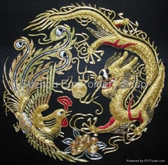 Chinese handmade silk embroidery art dragon and phoenix wall decor