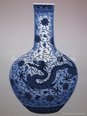 Chinese hand made silk embroidery blue and white porcelain vase wall art